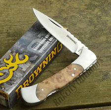Browning Burl Wood Handle Lockback Knife With Fileworked Backspring 322588