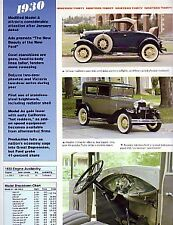 1930 Ford Model A Article - Must See!! DeLuxe Roadster Coupe Tudor Sedan etc