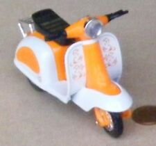 Orange & White Plastic & Metal Scooter Dolls House Miniature Garden Accessory