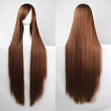 Fashion Women's Long Straight Cosplay Costume Halloween Full Hair Wig 80cm/100cm