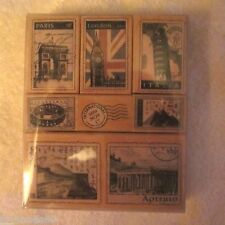 HERO ARTS Tour Deluxe Wood Mount Rubber Stamp Vacation Europe 8 pc Set