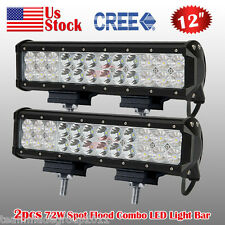 2X 12 INCH 72W CREE LED LIGHT BAR WORK SPOT FLOOD COMBO LAMP OFFROAD SUV ATV 4WD