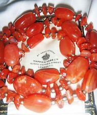 VINTAGE NATURAL CARNELIAN RED AGATE STONE NECKLACE  HEALING SPIRITUAL JEWELLERY