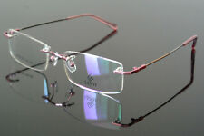 New Memory Titanium Women Flexible Rimless Pink Eyeglass Frame Glasses Rx able