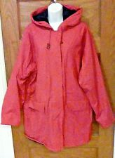 GUC MISTY HARBOR Ladies L Large PVC Red / Hot Pink Raincoat Slicker Lined