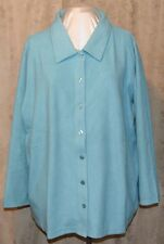 QVC DENIM & CO SOOO SOFT BABY SHERPA BUTTON FRONT BIG SHIRT TURQUOISE 3X NEW/TAG