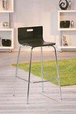 2 Tabourets chaise haute de bar cuisine assise H93 cm métal chrom NOIR
