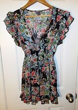Poetry Clothing women sz L blac red blue sheer flower tie tunic top shirt blouse