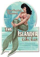 Vintage Sexy Pin Up Girl Schild Bettie Page Hawaii Tiki Werbung