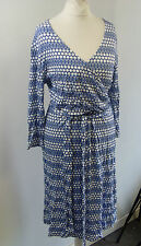 hv polo meyer HV Spot blue white wrap dress equestrian Medium Box1422 m