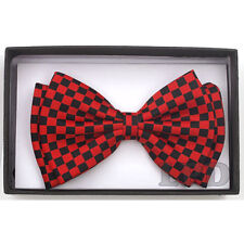 Tuxedo Adjustable Bowtie PreTied Black And Green CHECKERED BOARD Formal Bow Tie