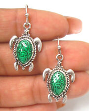 Sea Turtle Green Swirls Silver Sea Life Ocean Pierced Wire Earrings