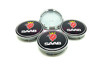 4x SAAB BLACK CENTRE HUB CAPS ALLOY WHEEL 63mm 9-3 93 95 900 9-5