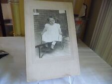 #824 antique photo young child in what looks to be home made wheel chair cart