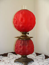 Antique Pittsburg Hollyhock Tufted Satin Gone With The Wind Banquet Parlor Lamp