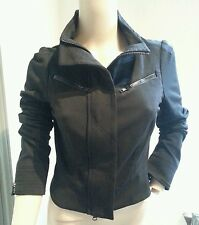 Diane Von Furstenberg Atlanta Black Motorcycle Style Zip Up Jacket S 4