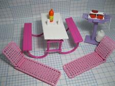 1:6 Scale Barbie Doll Picnic Table/Chaise Pool Lounge Chairs Grill-1980s #7751
