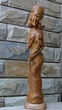 OLD CHINESE WALNUT WOOD HAND CARVED LARGE STATUE A WOMAN FEEDING A BABY