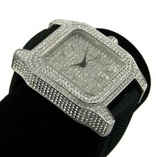 Iced-Out Watch Mens Roman Numerals Silver Tone Cz Bling Stones Hip Hop Jewelry