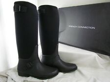 NIB French Connection Cat Black & White Knee High Rainboots Size 36 6 MSRP $100