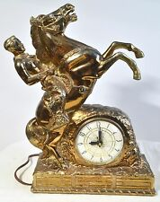 13  Inch Vintage Man Riding Horse Gold Tone Metal Statue Sculpture Mantel Clock