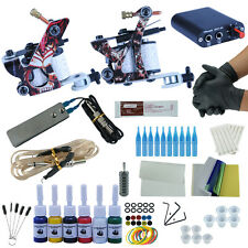 Professional Complete Tattoo Kit 2 Top Machine Gun 6 Color Ink Needles Power