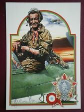POSTCARD WWII LIEUTENANT ROGER SAUVAGE OF FREE FRENCH AIR FORCE ABOVE & BEYOND