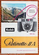 Cámara folleto kodak retinette IIA folleto werbeheft de 1959 (x2896