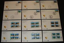 UNITED NATIONS 12 DIFF. 1991 NAMBIA INDEPENDENCE BLKS OF 4 & SINGLES FDC'S