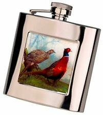 Pheasant picture  stainless Steel Hip  Flask FREE ENGRAVING boxed shooting gift