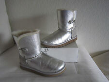 UGG K BAILEY BUTTON STERLING METALLIC BOOTS, YOUTH 5 (FITS WOMENS US 7)