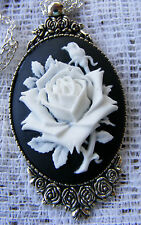 Rose Flower Cameo Antiqued Silver tone Rose Setting Pendant Necklace Mothers Day