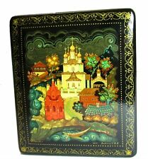 Russian Vintage Kholui Laquer Miniture Painting on Box Signed by the Artist