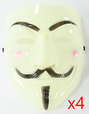 4 Yellow V for Vendetta Guy Fawkes Anonymous Costume Halloween Cosplay Masks OS