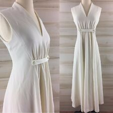 Vintage 60s 70s gathered white ivory long maxi dress hippie boho wedding S M