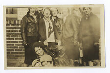 1930's SNAPSHOT: WOMEN IN LEATHER AVIATOR JACKETS & SCARVES LEAN AS IF FALLING