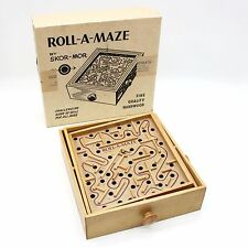 Vtg 60s Roll-A-Maze Labyrinth Wooden Steel Ball Marble Tilting Maze Puzzle Game