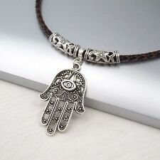 Silver Alloy Hand Eye Symbol Pendant Braided Brown Leather Cord Ethnic Necklace