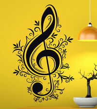 Music Wall Decal Vinyl Sticker Music Notes Treble Clef Interior Art Decor (40mu)