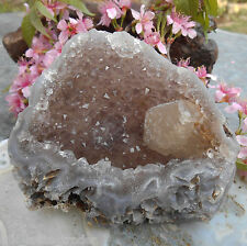 AA++ RARE HIMALAYAN CALCITE IN SMOKY QUARTZ STAR GATE CRYSTAL CLUSTER GEODE.