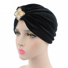 Women Indian Velvet Flower Hat Stretchable Headwrap Turban Cap Head Wrap