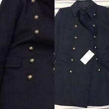 Zara corto cappotto stile militare con bottoni d'oro Medium M Giacca Blu Navy Lana