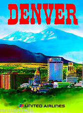 Denver Colorado Airplane United States of America Travel Advertisement Poster