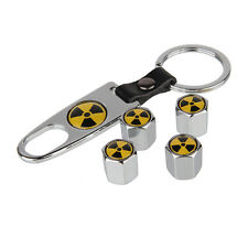Nuclear Car Air Wheel Tyre Valve Dust Caps Covers Spanner Keying Set of 4