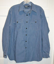POLO Ralph Lauren Donington Vtg Gray Chambray Work Shirt Chin Strap Gussets XL
