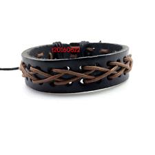 Wholesale 2Pcs Unisex Men Women Black Brown Colorful Leather Bracelet Wristband