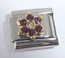 PURPLE FLOWER GEMS - Italian Charm February Birthstone 9mm Classic Size Gem