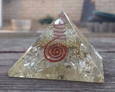 LARGE (50-55mm) CLEAR QUARTZ ORGONE GEMSTONE PYRAMID LARGE PYRAMID ORGONITE