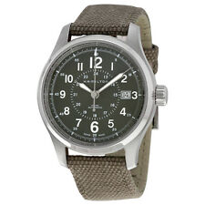 Hamilton Khaki Field Automatic Grey Dial Olive Green Canvas Mens Watch H70595963
