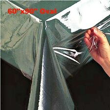 "Super Clear Table Cloth Cover Protects Fabrics 60""x90"" Oval Heavyweight & Durabl"